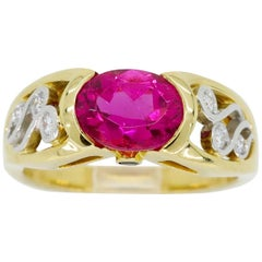 Rubelite and Diamond 18 Karat Yellow Gold Ring