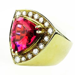 Gemjunky Rubelite and Diamond  18K Yellow Gold Cocktail Ring