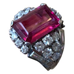 Rubelite and Diamond Cocktail Ring