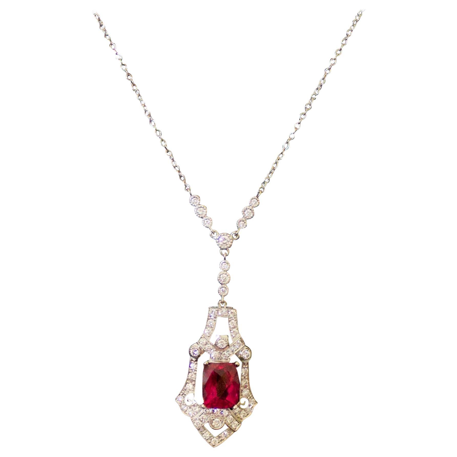 Rubelite and Diamond Necklace in 18 Karat White Gold
