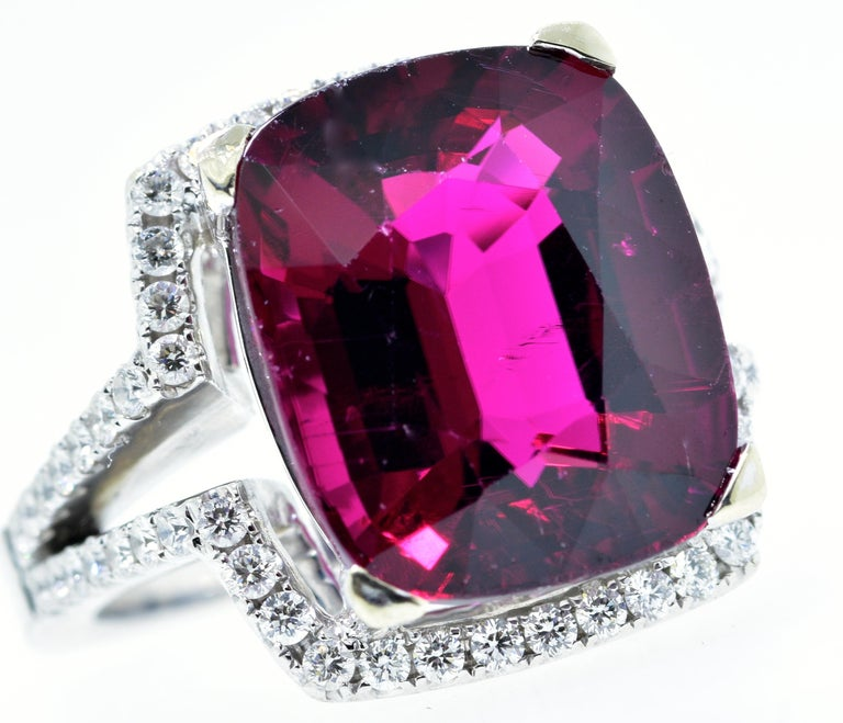 Contemporary 13 ct. Very Fine Rubelite and Diamond Ring For Sale