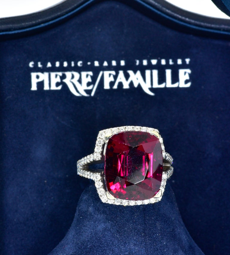 Women's or Men's 13 ct. Very Fine Rubelite and Diamond Ring For Sale
