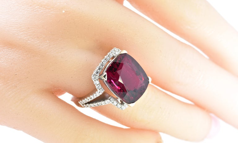 13 ct. Very Fine Rubelite and Diamond Ring For Sale 1