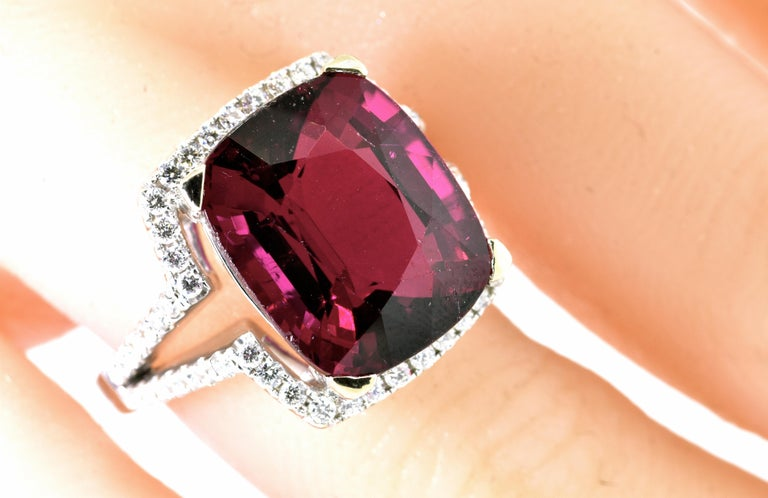 13 ct. Very Fine Rubelite and Diamond Ring For Sale 2