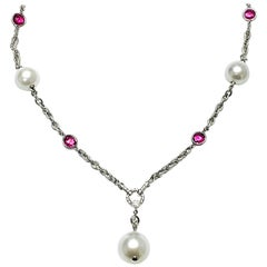 Rubelite Dark Tumble with White South Sea Pearl Drop Necklace