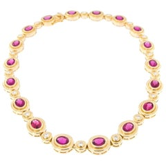 Rubelite Diamond Yellow Gold Statement Necklace