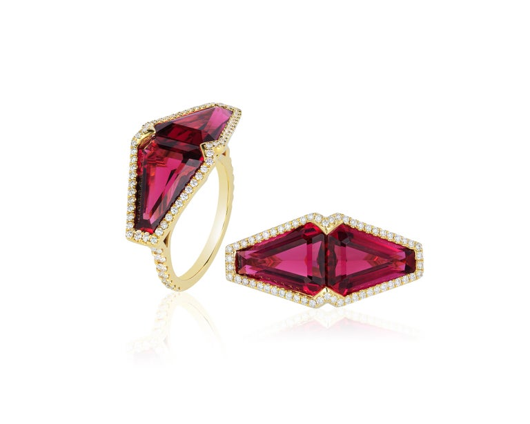 Contemporary Goshwara Rubelite Fancy Cut And Diamond Ring For Sale