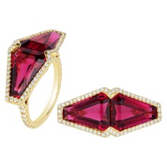 Rubelite Fancy Cut Stones Ring with Diamonds