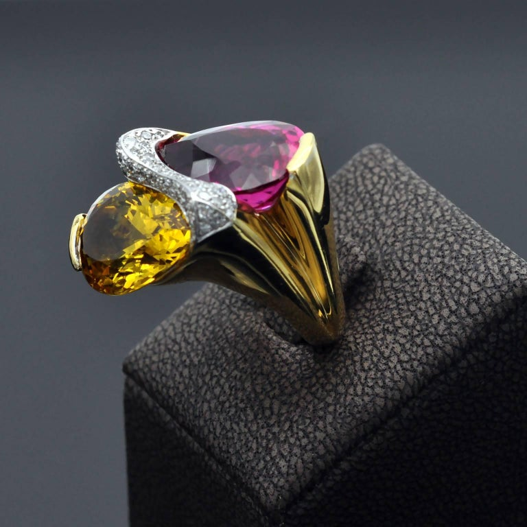 Rubelite Golden Beryl Gold Toi et Moi Cocktail Ring In New Condition For Sale In Monte Carlo, MC