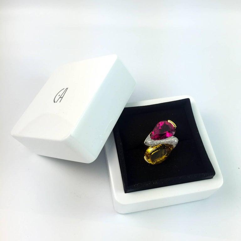 Rubelite Golden Beryl Gold Toi et Moi Cocktail Ring For Sale 3