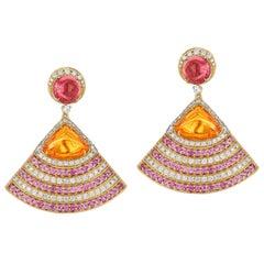 Goshwara Rubelite And Mandarin Garnet With Pink Sapphire Earrings