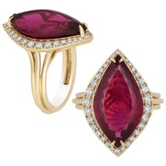 Rubelite Marquise Ring with Diamonds