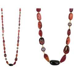 Goshwara Rubelite Multi-Tourmaline With Grey Pearls And Diamond Necklace