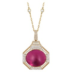 Rubelite Oval Cab Pendant with Diamonds