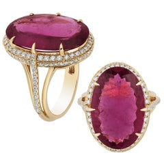Goshwara Rubelite Oval And Diamond Ring