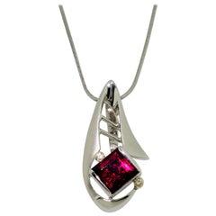 Rubelite Tourmaline and Diamond Gold S/S Pendant Necklace Fine Estate Jewelry