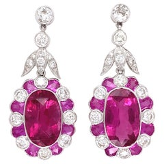 Rubelite Tourmaline and Diamond White Gold Drop Earrings Estate Fine Jewelry