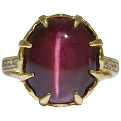 Rubelite Tourmaline Cats Eye Diamond Cocktail Ring Medieval Dome 18 Karat Gold