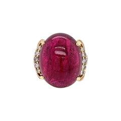 Rubelite Tourmaline Diamond Gold Cocktail Ring