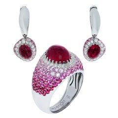Rubelites Rubies Diamonds Pink Sapphires White 18 Karat Gold Riviera Suite
