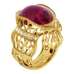Rubellite 11.07 Carat Diamonds 18 Karat Yellow Gold Coral Reef Ring