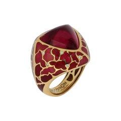 Rubellite 11.93 Carat Diamonds Enamel 18 Karat Yellow Gold Ring