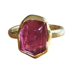 Rubellite 18 Karat Gold Engagement Ring