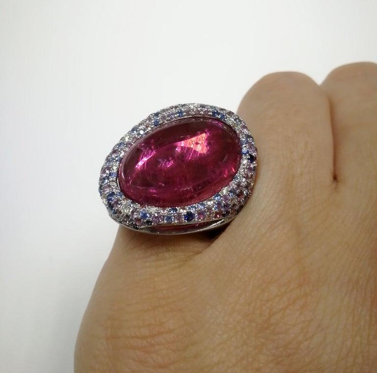 Rubellite 22.86 Carat Diamonds Sapphires 18 Karat White Gold Ring For Sale 5