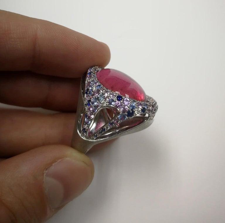 Rubellite 22.86 Carat Diamonds Sapphires 18 Karat White Gold Ring For Sale 6