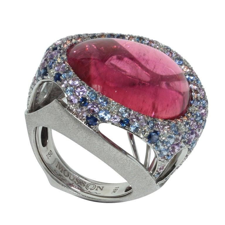 Contemporary Rubellite 22.86 Carat Diamonds Sapphires 18 Karat White Gold Ring For Sale