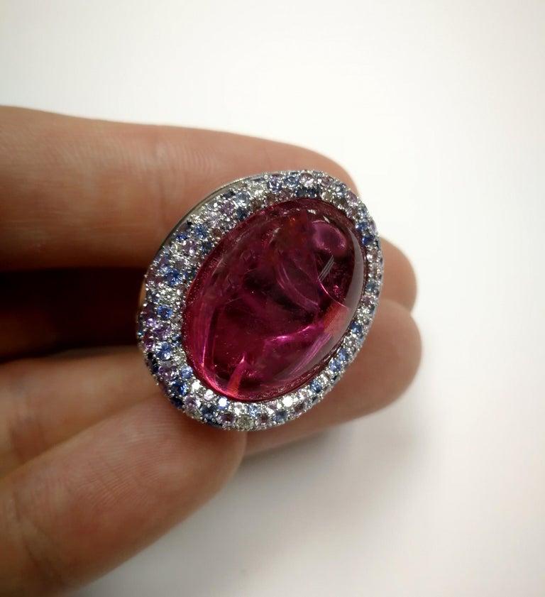 Women's Rubellite 22.86 Carat Diamonds Sapphires 18 Karat White Gold Ring For Sale