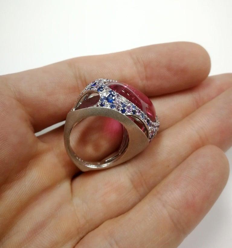 Rubellite 22.86 Carat Diamonds Sapphires 18 Karat White Gold Ring For Sale 1