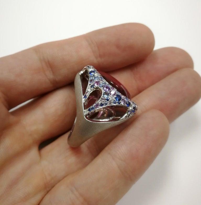 Rubellite 22.86 Carat Diamonds Sapphires 18 Karat White Gold Ring For Sale 2