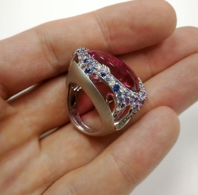 Rubellite 22.86 Carat Diamonds Sapphires 18 Karat White Gold Ring For Sale 3
