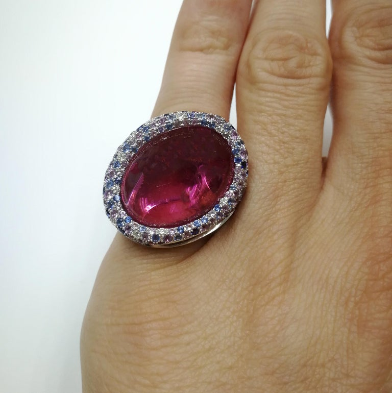 Rubellite 22.86 Carat Diamonds Sapphires 18 Karat White Gold Ring For Sale 4
