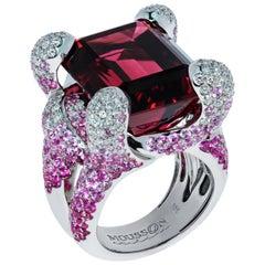 Rubellite 28.70 Carat Pink Sapphires Diamonds 18 Karat White Gold New Age Ring