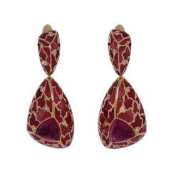 Rubellite 5.48 Carat Diamonds Enamel 18 Karat Yellow Gold Earrings