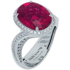 Rubellite 5.70 Carat Diamonds 18 Karat White Gold Ring