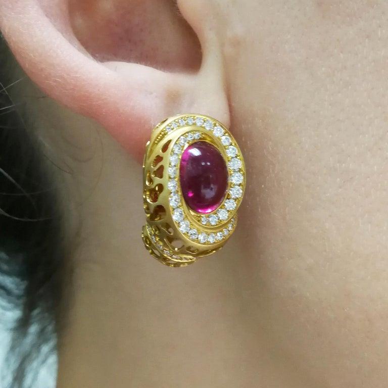 Rubellite 8.31 Carat Diamonds 18 Karat Yellow Gold Coral Reef Earrings For Sale 4