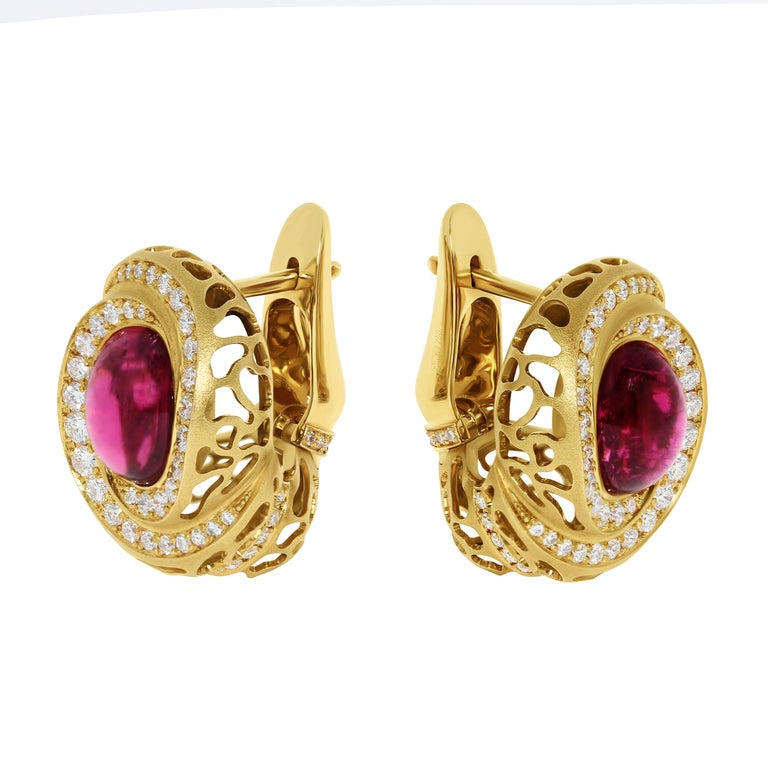 Rubellite 8.31 Carat Diamonds 18 Karat Yellow Gold Coral Reef Earrings Earrings from the Coral Reef collection, where the distinctive feature is the shape of 18 Karat Yellow Gold, made in the form of coral reefs. The variety of colors in this