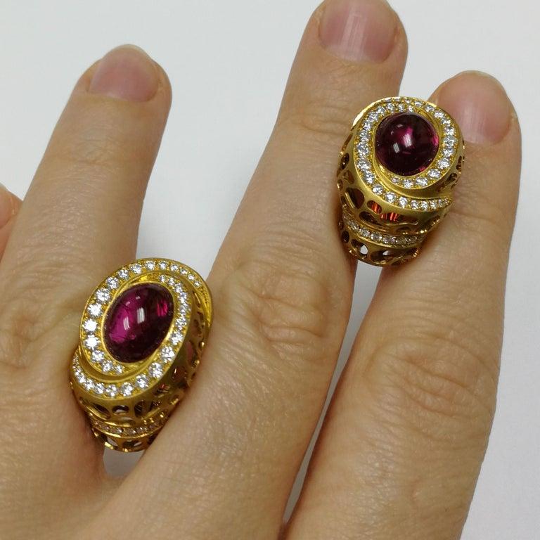 Oval Cut Rubellite 8.31 Carat Diamonds 18 Karat Yellow Gold Coral Reef Earrings For Sale
