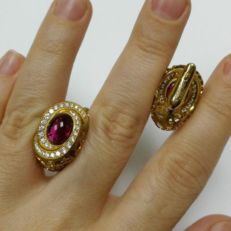 Rubellite 8.31 Carat Diamonds 18 Karat Yellow Gold Coral Reef Earrings For Sale 1