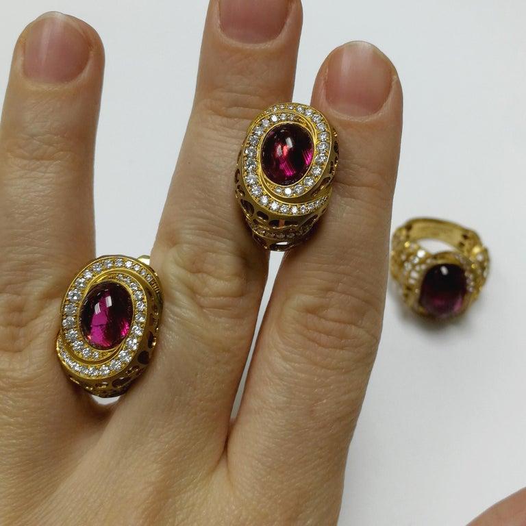 Rubellite 8.31 Carat Diamonds 18 Karat Yellow Gold Coral Reef Earrings For Sale 2