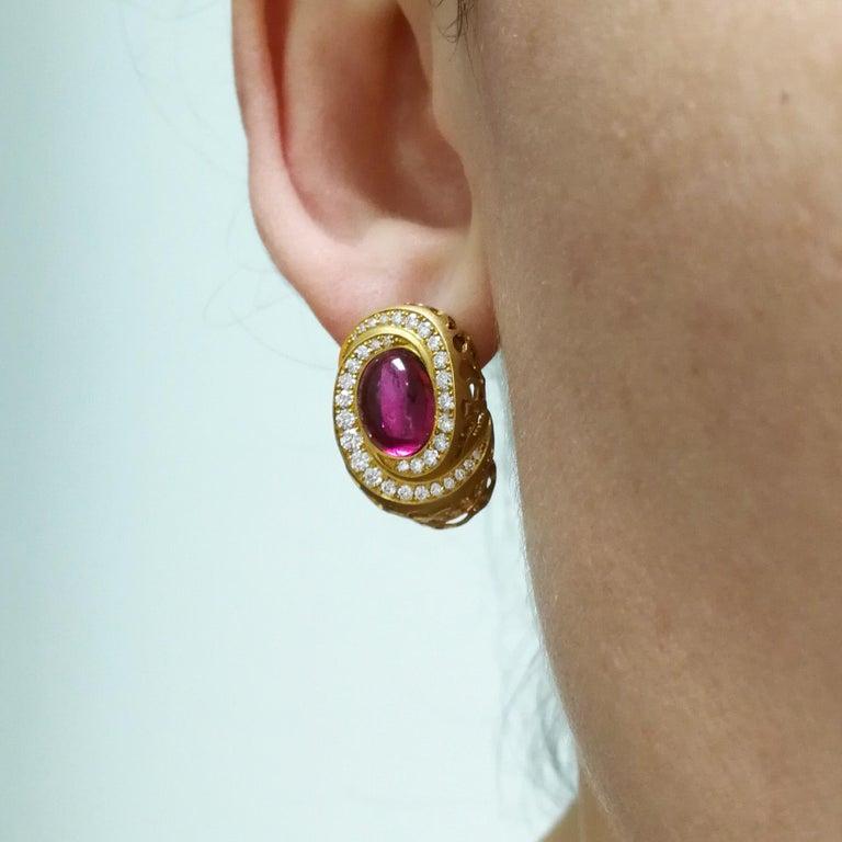 Rubellite 8.31 Carat Diamonds 18 Karat Yellow Gold Coral Reef Earrings For Sale 3