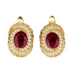 Rubellite 8.31 Carat Diamonds 18 Karat Yellow Gold Coral Reef Earrings