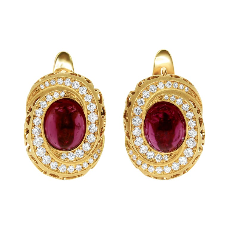 Rubellite 8.31 Carat Diamonds 18 Karat Yellow Gold Coral Reef Earrings For Sale