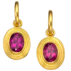 Rubellite and 22 Karat Gold Drop Earrings