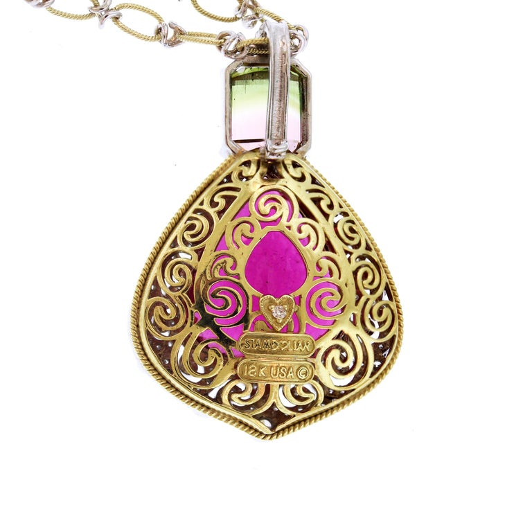 IF YOU ARE REALLY INTERESTED, CONTACT US WITH ANY REASONABLE OFFER. WE WILL TRY OUR BEST TO MAKE YOU HAPPY!  18K Yellow and White Gold Pendant Necklace with Rubellite and Bi-color Tourmaline surrounded by diamonds  This one-of-a-kind masterpiece by