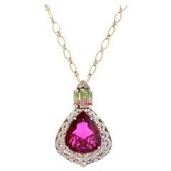 Rubellite and Bi-Color Tourmaline Pendant Necklace with Diamonds Stambolian
