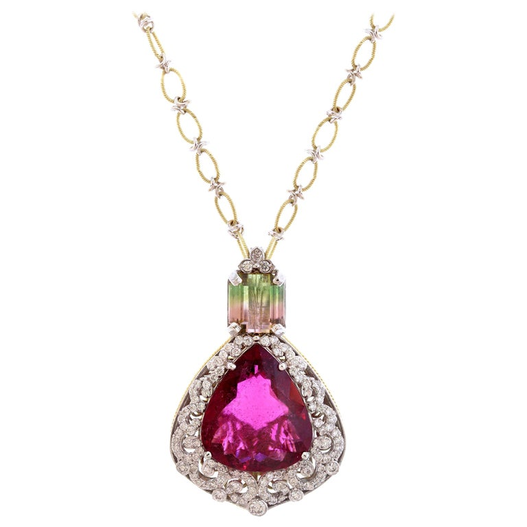 Rubellite and Bi-Color Tourmaline Pendant Necklace with Diamonds Stambolian For Sale